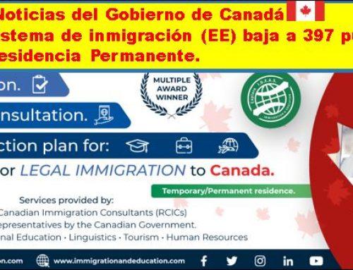 El puntaje del Sistema de inmigración (EE) baja a 397 puntos para invitaciones a Residencia Permanente